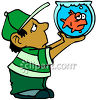 Boy Holding A Sad Goldfish In A Bowl clipart