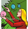 Woman Decorating Tree For Christmas clipart