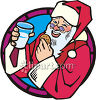 Santa Claus With A Cookie And Milk clipart