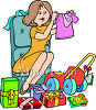 Woman Opening Gifts At Baby Shower clipart