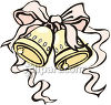 Pair Of Wedding Bells Tied Together With A Ribbon clipart