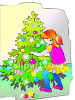 Little Girl Decorating A Christmas Tree clipart