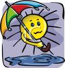 Sun With an Umbrella clipart
