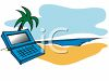 Laptop on a Beach clipart