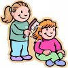 Girl Brushing Her Friend's Hair clipart