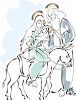 Mary and Baby Jesus with Joseph clipart