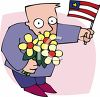 Man With Flowers and a Flag clipart
