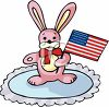 Toy Bunny Rabbit with a Flag clipart