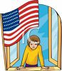 Boy at a Window with the U.S. Flag clipart