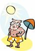 Sunbathing Man at the Beach clipart