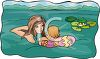 Mother and Toddler Swimming clipart