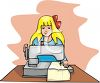 Girl Using a Sewing Machine clipart