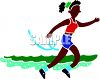 A Black Woman Running or Jogging clipart