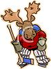 Cartoon Moose Playing Hockey clipart