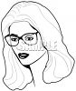 Black and White Image of Pretty Woman Wearing Glasses clipart