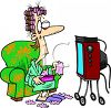 Housewife Watching Soap Operas on TV with a Box of Tissues Clip Art clipart