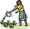 Woman Watering Flowers Clip Art clipart
