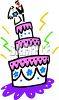 Wedding Cake with Bride and Groom on Top Clip Art clipart