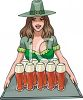Barmaid Serving Ale on St. Patrick's Day clipart