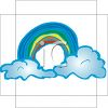 Puffy White Clouds and a Rainbow Clip Art clipart
