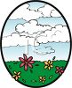 Puffy White Clouds Over a Field of Flowers Clip Art clipart