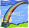 Pot of Gold at the End of a Rainbow Clip Art clipart