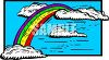 Rainbow and Puffy White Clouds Clip Art clipart