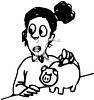 Girl Saving Money by Putting Coins in Piggy Bank Clip Art clipart