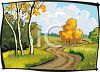 Colorful Trees in the Fall - Autumn Scene Clip Art clipart