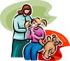 Hurt Child with Teddy Bear Clip Art clipart