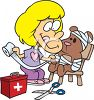 Little Girl Playing Doctor with Her Teddy Bear Patient Clip Art clipart