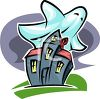 Haunted House with Ghosts Clip Art clipart