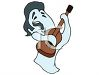 Ghost of Elvis Playing His Guitar clipart