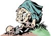 Hunchback Digging Up a Grave clipart