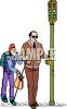 Girl Helping Blind Man Cross Street clipart