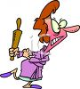 Angry Wife with a Rolling Pin clipart