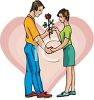 Boy Giving Girl a Rose Clip Art clipart