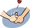 Couple In Love Holding Hands Cartoon Clip Art clipart