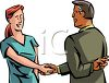 Dishonest Person Shaking Hands with Fingers Crossed Clip Art clipart
