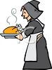 Pilgrim Woman Holding a Cooked Turkey clipart