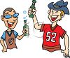 Football Fans Drinking Beer clipart