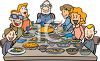 Family Eating Thanksgiving Dinner Clip Art clipart