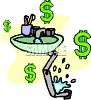 Throwing Money Down the Drain Clip Art clipart