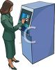 Woman Getting Money From an ATM Clip Art clipart