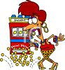 Cartoon of a Woman Winning a Jackpot Clip Art clipart