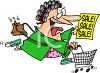 Excited Woman Rushing to a Sale Clip Art clipart