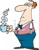 Cartoon of a Grouchy Man Taking a Coffee Break Clipart clipart