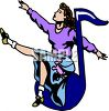 1950's Choir Girl Singing on a Music Note Clip Art clipart