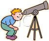 Boy Looking Through a Telescope Clip Art clipart