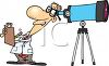 Cartoon Astronomer Looking Through Telescope Clip Art clipart
